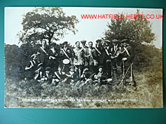 Hatfield Volunteer Training Corps postcard - photo showing a group of men in two rows with rifles
