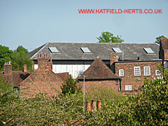 Hatfield Real Tennis Court - roof seen from a distance