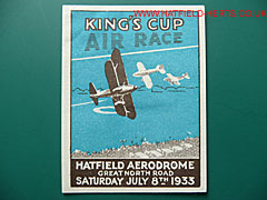 Commemorative beer label for the 1933 King's Cup Air Race