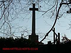 Cross at Hatfield Park War Cemetery seen through bare tree branches