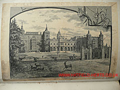 Engraving of the front of Hatfield House