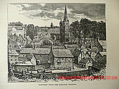 Engraving of Hatfield old town showing St Ethelredas with steeple and Salisbury Arms